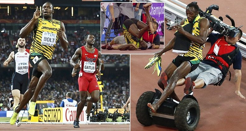 Usain Bolt Securing His Second Triumph in Beijing then Run Over by a Cameraman on a Segway