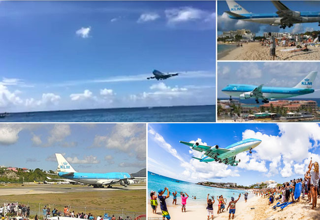 Last Ever KLM 747 to Buzz the Beach at St Maarten Touches Down