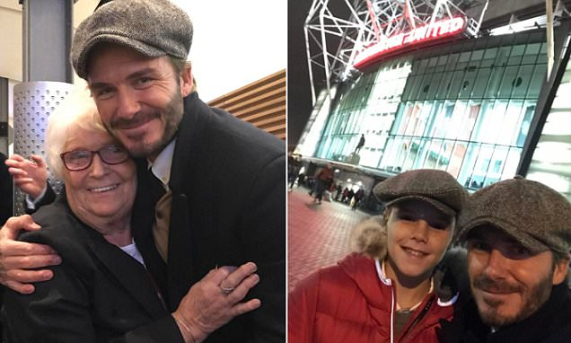 Beckham Pays Tribute to Long-serving Lady as He Makes Visit to Watch Old Trafford Clash