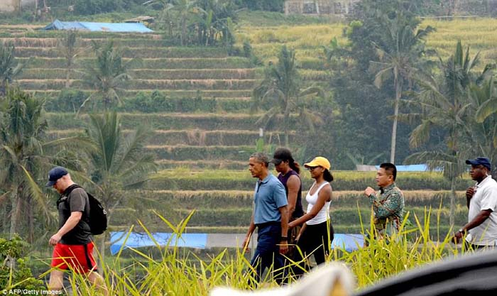 The Obamas Visit Balinese Paddy Fields before to Speak at the 4th Indonesian Diaspora Congress