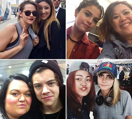 Fans Share Selfies with Stars They`ve Spotted at Airports