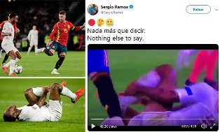 Ramos Hits Back at Fans Claiming He Stamped on Sterling in Nations League clash by Twitter