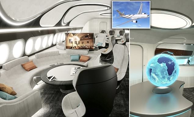 The Private Jet Cabin by Airbus that Features a Master Bedroom, Office and Lounge
