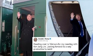 Trump Tumpangi Air Force One Temui Kim Jong Un di Hanoi