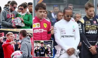 Lewis Hamilton Leads His Fellow Drivers in a Minute`s Silence for Anthoine Hubert