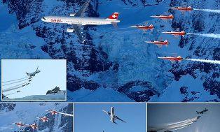 Atraksi Jet F-5E Tiger Kawal Airbus A321 di Atas Pegunungan Alpen